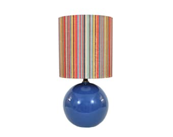 Blue Ceramic Ball Lamp with New Striped Shade Vintage Modern