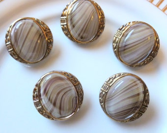 Antique Czech's Button,  Tiger Eye, with Gold trim, Ornate, Circa 1930's, 5 in lot,  Button Jewelry, Rare, Taupe Tiger Eye Glass Buttons