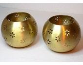 Brass Tea Candle Holders Pair, Geometric Round Set of 2, Tealight, Retro Decor, Hippie Boho Tea Light