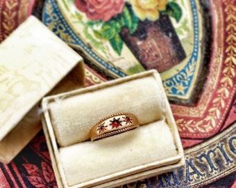 10K Gold Garnet Baby Ring Fine Jewelry Vintage Ring Box