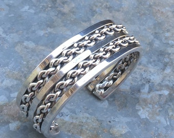 Vintage Navajo Signed HRM Sterling Silver Double Row Link Chain Cuff Bracelet