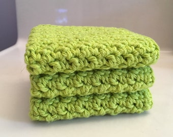 Handcrafted 100% Cotton Crochet Dishcloths / Washcloths Set of 3 in Apple Green