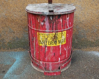 Vintage Industrial Trash Can Red Footed flip up lid Justrite Mfg. 6 gallon waste Bin Garbage Oily rag Can
