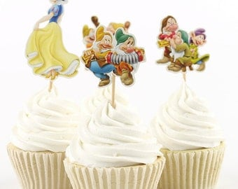 Snow White and the Seven Dwarfs cupcake toppers-set of 24