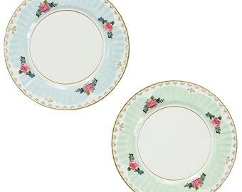 "Vintage Rose Paper Plates - 2 designs 8 plates 11"" diameter"