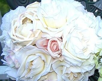 Parisian Vintage Linen Rose and Silk Rose Wedding Bouquet  OOAK