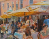 Cafe in Paris, Paris, France, Outdoor Cafe, European Painting, French Cafe, Outdoor Dining, Figurative art, Colorful Painting, Original oil