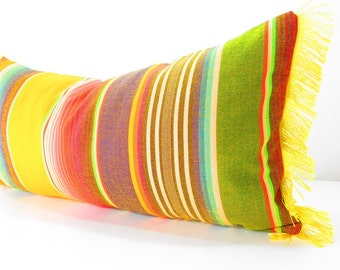 Yellow Long bolster pillow cover Tribal Aztec Mexican Throw Boho chic Lumbar Cushion Purple red black green white