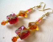 Hand Painted Garden Earrings ~ Handmade Glass, Flower, Statement Jewelry, Gift for Her