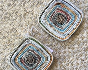 n. 37 EARTH TONES coiled Square recycled paper pierced earrings measure 1.25""