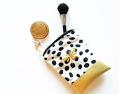 Ikat and Faux Leather Makeup Bag