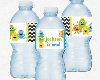 Little Monster Water Bottle Labels, Monster Birthday Party Decorations, First Birthday, Bottle Wraps, Monster Labels, Chevron