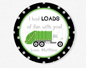 Garbage Truck Favor Tags, Garbage Truck Birthday Party Favors, Boy Birthday Tag, Garbage Truck Tag, Personalized