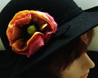 Nuno Felt Silk and Wool Flower Accessory Brooch