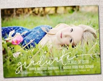 Graduation Announcement, Graduation Invitation, Photo Graduation Announcement, Printable Graduation Announcement (Graduate Cursive)
