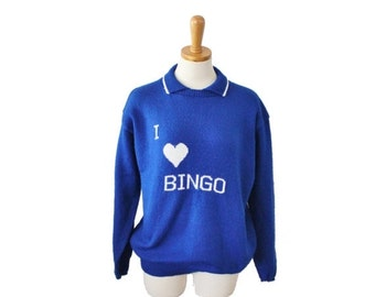 50% half off sale // Vintage 70s I Love Bingo Novelty Design Hand Knit Sweater - Women Large, blue white, handmade, retro