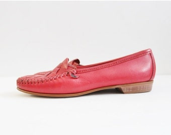 BLOWOUT 40% off sale Vintage 80s Red Moccasin Flats - Genuine Hand Sewn Leather - Dexter Women 7M