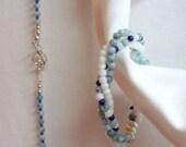 Necklace and Bracelet Set ... 3 Strand Twisted Bracelet ... Blue, White and Silver