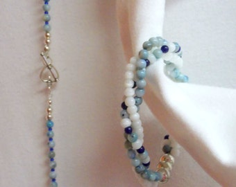Sell It Now Sale Price is 45 percent off ... Long Necklace & Matching Stretchy 3 Strand Twisted Bracelet .... Blue, White, Silver