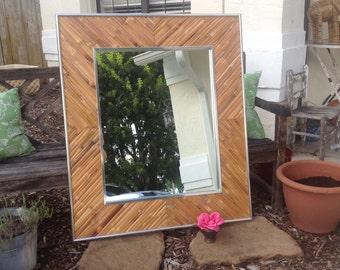 RATTAN CHROME MIRROR / Greg Copeland Style Mirror / Large Rattan Mirror / Bamboo Chrome Mirror Island Style at Retro Daisy Girl