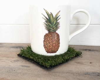 Tropical Pineapple Illustration Bone China Mug