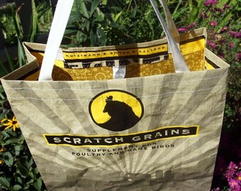 LINED Feed Sack Tote - Scratch Grains Gold
