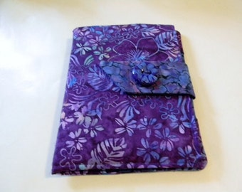 Purple and Blue Floral Batik Kindle Touch/ Kindle/ Nook Simple Touch/Paperwhite  Cover