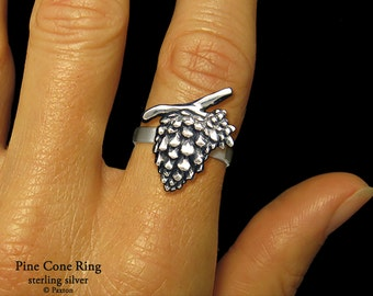 Pine Cone Ring Sterling Silver Pinecone Ring