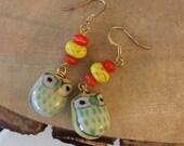 Yellow and Orange Owl Dangle Earrings, Chi Omega Earrings, Gifts For Her, Teen Earrings
