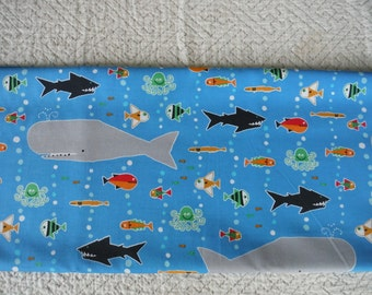 Cloud9 Organic quilt cotton Happy Drawing Whales and Fish 1/2 yard sewing suppllies from MyGypsyCottage