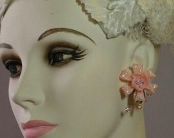 Pink Lace Flower Earrings