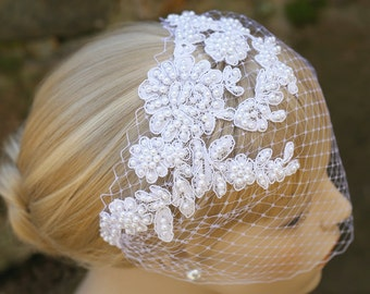 Beaded Lace Veil, Lace Hair Accessory, Pearl Blusher Veil, White Birdcage Veil, Wedding Special Occasion Accessory