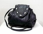 Vintage 1980s Soft Black Leather Bag Studded Flap Triangular Shoulder Cross Body Bag