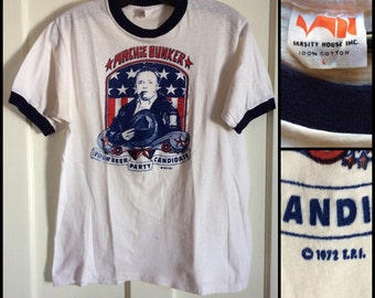 Vintage 1972 Archie Bunker for President, the Beer Candidate T-shirt size L All in the Family TV show Sit Com