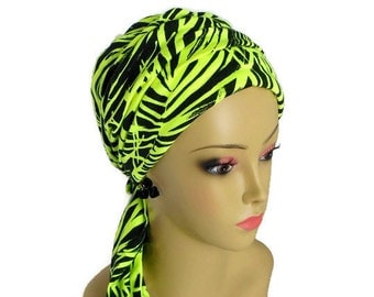 Neon Green Ferns on Black Turban Scarf, Soft Jersey for Chemo Cover, Cute & Comfortable with or without Daisy Pin