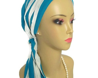 Blue Teal & White Stripe Scarf Turban Soft Jersey | Lightweight Chemo Volumizer Headwear | Perfect Cap Head Covering For Sensitive Scalp