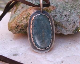 Paraiba Quartz Gemstone Metalsmith Handmade Artisan Oxidized Sterling Silver Earthy Rustic Boho Necklace