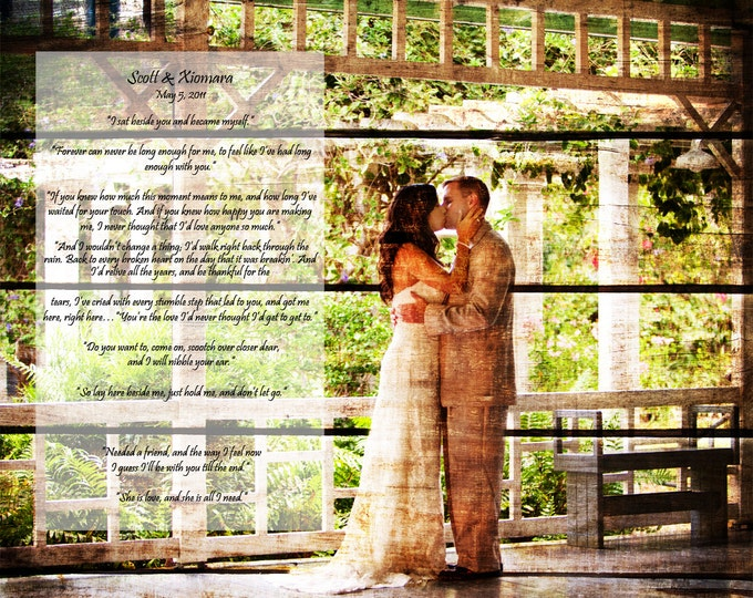 Wood Print 5th Anniversary REAL WOOD Wedding Vows Anniversary Gift Wedding Decoration or Wedding Anniversary Gift 16x20