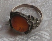 BALTIC AMBER ART Nouveau Style Vintage Sterling Silver Poland Large Round Floral Filigree Ring Size 7.75 3/4 8 1980s 1990s