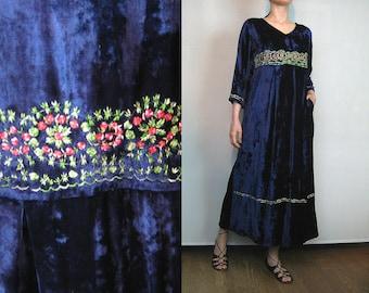 Vintage EMBROIDERED INDIAN Dress Blue Velvet Maxi Dress Embroidered Maxi Dress Indian Maxi Dress 80s Embroidered Floral Dress