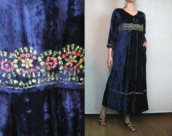 80s EMBROIDERED INDIAN Dress Vintage Blue Crushed Velvet Maxi Dress Blue Indian Dress Embroidered Maxi Dress 80s Embroidered Floral Dress