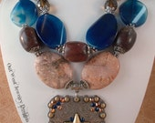 RESERVED Cowgirl Necklace Set - Chunky Tan Howlite Turquoise - Blue Agate - Bronc Concho Pendant