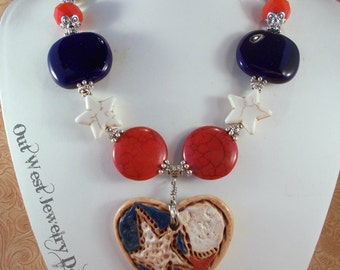 Cowgirl Necklace Set - Red White and Blue Howlite with a Ceramic Lonestar Heart Pendant