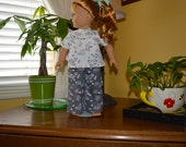 18 Inch Doll Two Piece Gray Floral Print Pajama Set by SEWSWEETDAISy