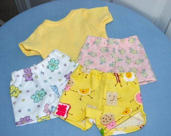 SALE  - 18 Inch Doll Three Pair Flannel Boxer Shorts and Short Sleeve Yellow Tshirt by SEWSWEETDAISY