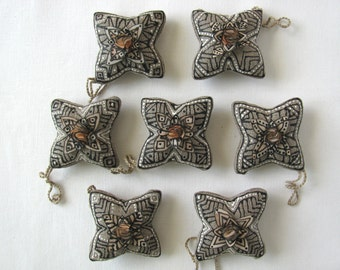 7 hand decorated linen and silk star ornaments - home decor