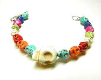 Day of the Dead Bracelet, Frida Kahlo Cha Cha Bracelet, Skull Jewelry, Day of the Dead Jewelry, Colorful Skull Bracelet, Skull Wrap Bracelet
