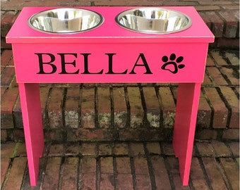 Large elevated Dog Bowl Stand - 18 inches Tall - Two 3 Quart Bowls shabby farmhouse  personalize with your pets name and Heart or Paw Print