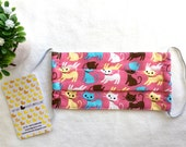 Adult Size/ Reusable And Washable Organic Cloth Surgical Mask/ Anti-Dusk Mask/ Cotton Medical Face Mask/ Colorful Cat Kitty in Pink