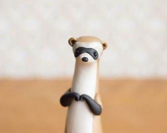 Ferret Figurine - Black-Footed Ferret by Bonjour Poupette